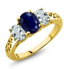 2.65 Ct Oval Blue Sapphire Sky Blue Aquamarine 18K Yellow Gold Ring