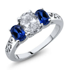 2.30 Ct Oval White Topaz Blue Simulated Sapphire 925 Sterling Silver Ring