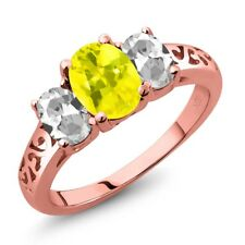 2.30 Ct Oval Canary Mystic Topaz White Topaz 18K Rose Gold Plated Silver Ring