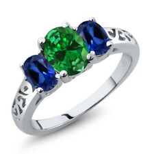 3.10 Ct Green Simulated Emerald Blue Simulated Sapphire 925 Sterling Silver Ring
