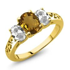 2.00 Ct Oval Whiskey Quartz White Topaz 18K Yellow Gold Plated Silver Ring