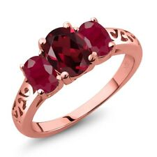 2.55 Ct Oval Red Rhodolite Garnet Red Ruby 18K Rose Gold Plated Silver Ring