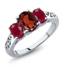 2.40 Ct Oval Red Garnet Red Ruby 14K White Gold Ring