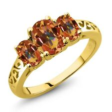2.30 Ct Oval Ecstasy Mystic Topaz 18K Yellow Gold Plated Silver Ring
