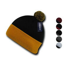 Decky Pom Pom Two Tone Beanies Long Cuffed Tight Stretchy Knitted Ski Caps Hats
