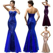 Strapless Mermaid Tulle Ball Gown Evening Prom Party Dress Full Sequins Luxury