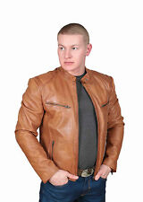 Mens Leather Biker Jacket Foster Tan Fitted Waist Length Zip Up Standing Collar
