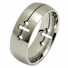 Laser Cut Cross Ring 316L Surgical Grade Stainless Steel Size 5 - 14