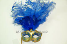 Masquerade Stick Mask Venetian Mardi Gras Costume Feather Dress up birthday prom