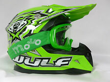 WULFSPORT FLITE XTRA KIDS MOTOCROSS OFF ROAD GREEN HELMETS+X1 GREEN GOGGLES