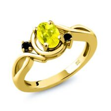 0.87 Ct Oval Canary Mystic Topaz Black Diamond 14K Yellow Gold Ring