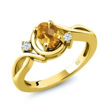 0.78 Ct Oval Checkerboard Yellow Citrine White Topaz 18K Yellow Gold Ring