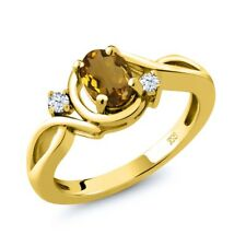 0.78 Ct Oval Whiskey Quartz White Topaz 18K Yellow Gold Plated Silver Ring