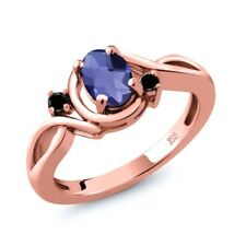 0.72 Ct Oval Checkerboard Blue Iolite Black Diamond 18K Rose Gold Ring