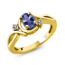 0.82 Ct Oval Blue Tanzanite White Diamond 18K Yellow Gold Plated Silver Ring