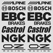 2 X ALPINE, BOSCH, EBC, CASTROL, NGK, OZ RACING stickers sponsor decals #SK-024