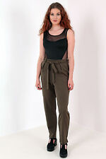 Womens Tailored Trousers New Ladies Tie Belt Pleated Khaki Size 8-14 UK