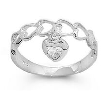 Sterling Silver 925 BABY HEART DESIGN WITH DANGLING HEART CZ RING 4MM SIZES 1-5
