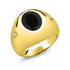4.08 Ct Oval Black Onyx White Topaz 18K Yellow Gold Men's Ring