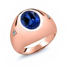 6.23 Ct Oval Simulated Sapphire Blue Simulated Topaz 14K Rose Gold Men's Ring