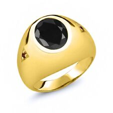 4.48 Ct Oval Black Sapphire Red Garnet 18K Yellow Gold Plated Silver Men's Ring