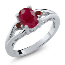 1.68 Ct Oval Red Ruby Red Garnet 925 Sterling Silver Ring