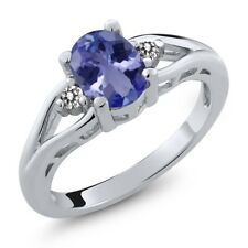 1.17 Ct Oval Blue Tanzanite AAAA White Diamond 925 Sterling Silver Ring