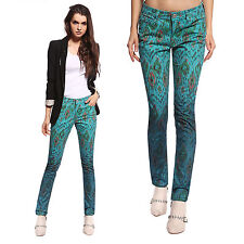 Anladia Womens Stretch Pencil Vintage Floral Pants Peacock Colored Skinny Jeans