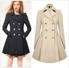 Ladies Double Breasted Trench Coat Jacket Fit and Flare Beige Navy SIZE M-XXL