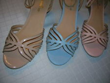 Womens Shoes (size 12,13)  Ankle Strap Wedge Peep Toe Comfort (nude,blue,pink)