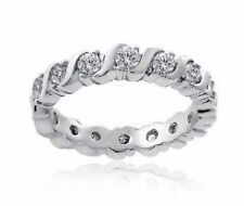 Sterling Silver Round Eternity CZ Stackable Wedding Band Cubic Zirconia Ring