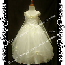 #PF9 Flower Girl Wedding Pageant Gown Dresses Ivory 3 4 5 6 7 8 9 10 11 12 13 14