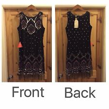 LADIES FROCK AND FRILL BEADED DRESS SIZE 14