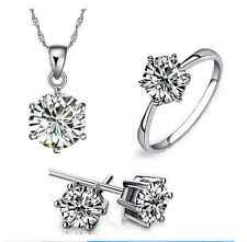 Beautiful Sterling Silver 2.5 Cts Cubic Zirconia Engagement Party Jewelry Set