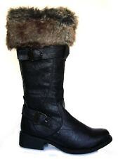 NEW LADIES ZIP UP WINTER SNOW BIKER CALF BOOTS WITH FAUX FUR COLLAR