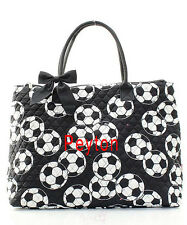 Personalizing Quilted Sports Soccer Large Tote Bag Purse MONOGRAM Embroidery