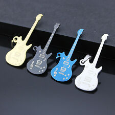 Fashion Mens Stainless Steel Music Guitar Pendant Necklace Jewelry Necklace