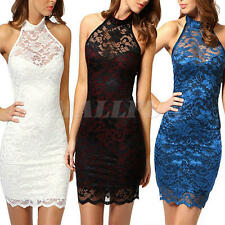 Womens Sexy Sleeveless Lace Floral Halter Backless Bodycon Above Knee Dress