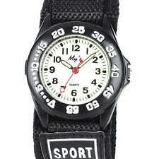 Boy Girl Teenager Student Fabric Nylon Band Luminous Velcro Sports Watch Black a