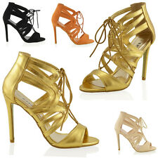 NEW WOMENS LADIES LACE UP HIGH HEELS PEEPTOE ANKLE STRAPPY CUT OUT SANDALS SIZE