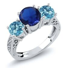2.67 Ct Blue Simulated Sapphire Swiss Blue Topaz 925 Silver 3-Stone Ring