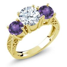 9.40 Ct White Topaz Purple Amethyst 18K Yellow Gold Plated Silver 3-Stone Ring