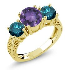 2.20 Ct Purple Amethyst Blue Diamond 18K Yellow Gold Plated Silver 3-Stone Ring