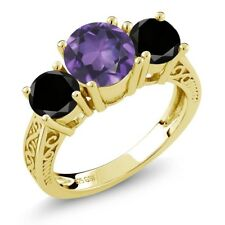 2.20 Ct Purple Amethyst Black Diamond 18K Yellow Gold Plated Silver 3-Stone Ring