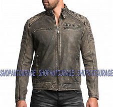 AFFLICTION Iron Head 110OW216 New Men`s Genuine Leather Jacket+Free($39) T-shirt