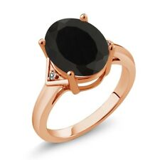 4.01 Ct Oval Black Onyx White Diamond 18K Rose Gold Ring