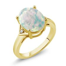 4.02 Ct Oval White Simulated Opal White Topaz 18K Yellow Gold Plated Silver Ring