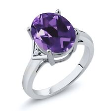 4.02 Ct Oval Purple Amethyst White Topaz 925 Sterling Silver Ring