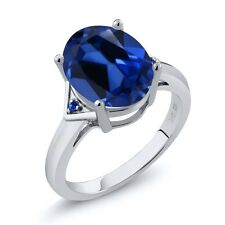 6.15 Ct Oval Blue Simulated Sapphire Blue Sapphire 14K White Gold Ring