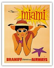 Miami Florida Beach Starfish Vintage Airline Travel Art Poster Print Giclée